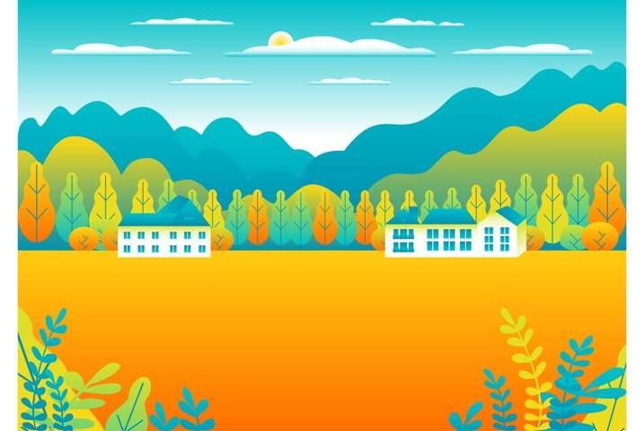 Rural or urban landscape outdoor. City or village in flat