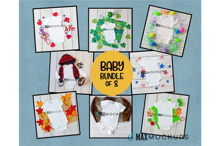 Baby Mockup bundle, July 4, Valentine, St Pat, Easter, fall