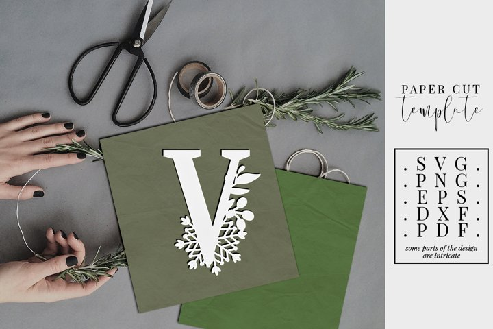 Winter letter V, single initial paper cut, snowflakes SVG
