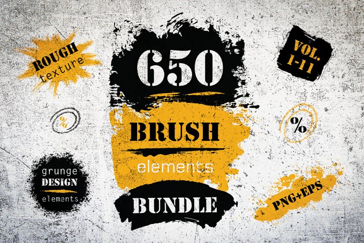 Brush Strokes Bundle of 650 Painted Elements