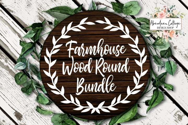 Farmhouse Wreath Wood Round Sign SVG Cut Files Bundle