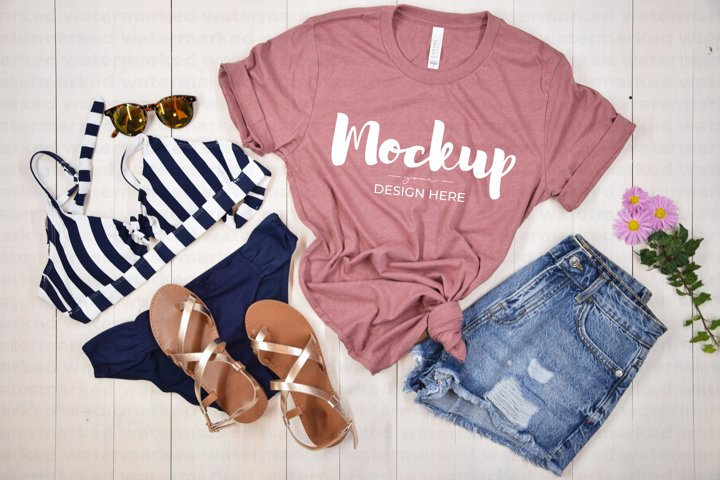 Summer Shirt Mockup, Pink Shirt Mock up, Bella Canvas
