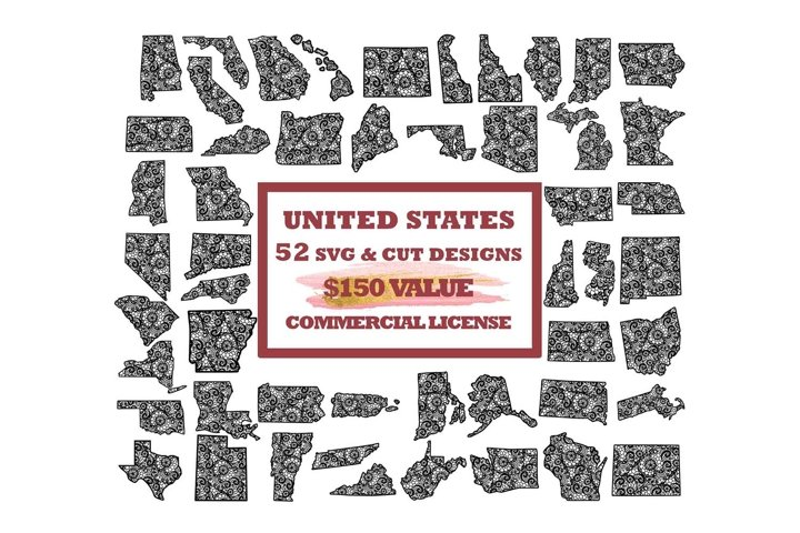 USA States SVG Bundle, 50 US States Mandala PNG Clip Art