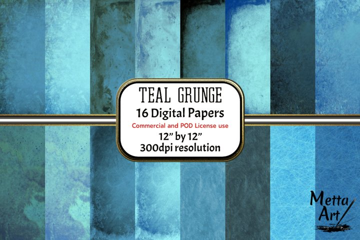 Teal Grunge - 16 Digital Papers/Backgrounds