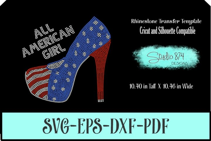 All American Girl Shoe Rhinestone SVG Transfer Template R1