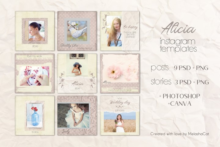Alicia Instagram Templates - 9 posts and 3 stories. PSD&PNG