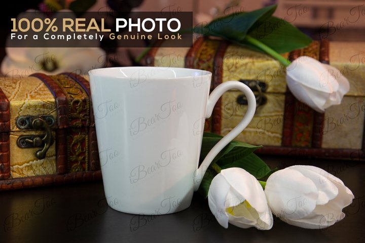 Mug Mockup Template with Smart Objects, Flowers & Chests PSD example 2