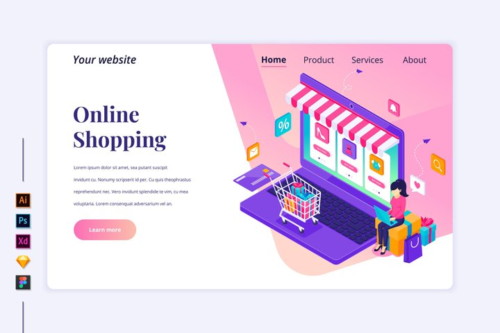 Isometric Online Shopping Landing page illustration