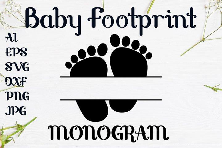Monogram Footprint Baby svg design