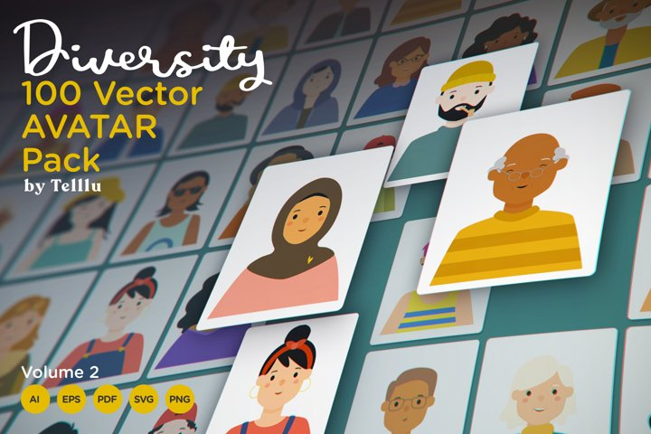 Diversity 100 Vector Avatar Pack v.02