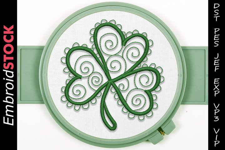 Swirl Shamrock Embroidery Design