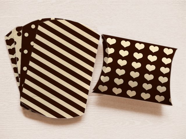 Black Pillow Boxes to print with Stripes Polka Dots, and Hearts