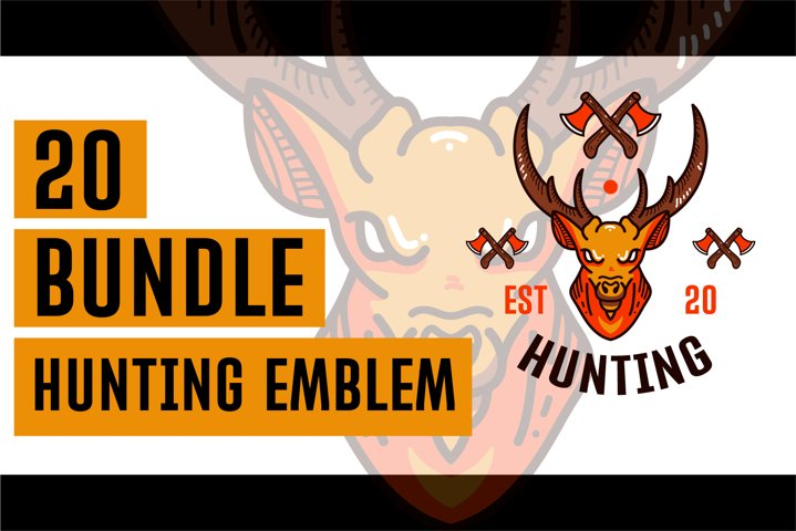 20 Bundle Hunting Emblem Deer theme