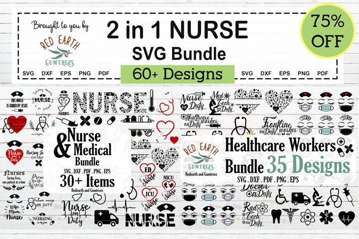 2 in 1 Nurse SVG,Healthcare workers and monograms SVG Bundle