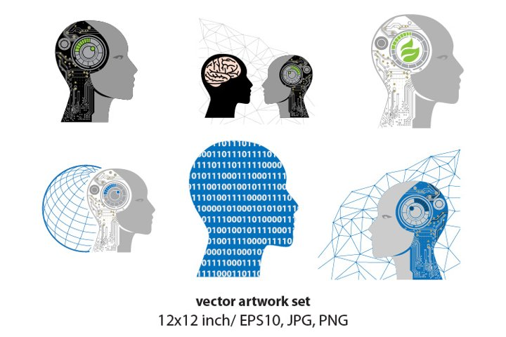 robotics head, technology related vector artwork set