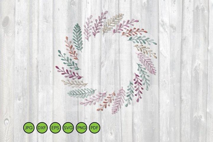 Leaves Wreath SVG. Floral Frame SVG Hand drawn doodle design