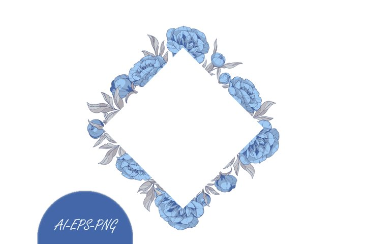 Vector Clipart frame with blue peonies flowers
