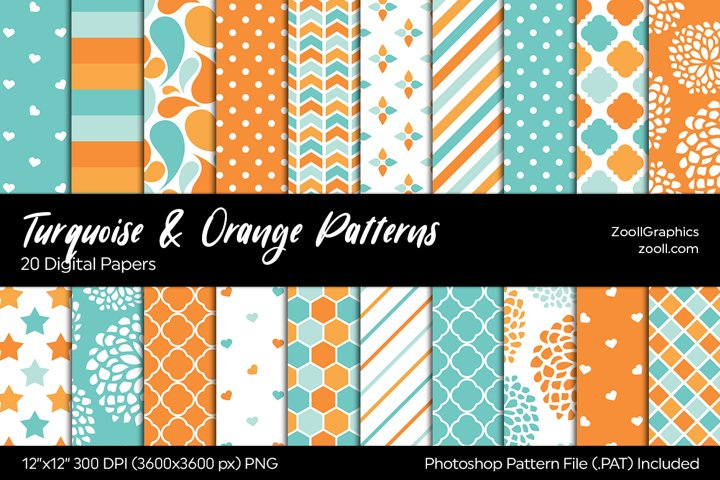 Turquoise And Orange Digital Papers
