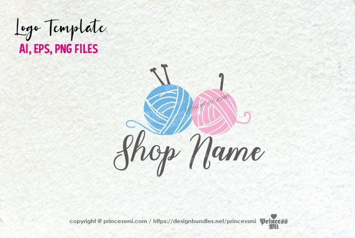 business logo template, crochet knit yarn