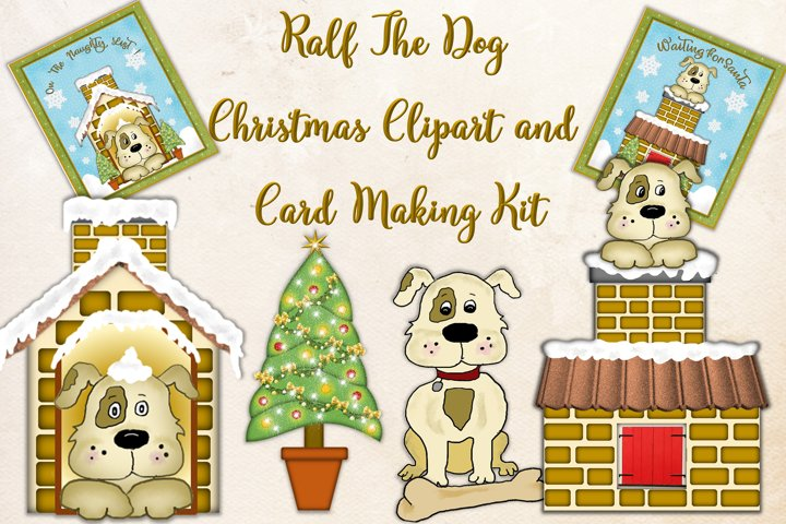 Cute Dog clipart and Christmas Card making Kit