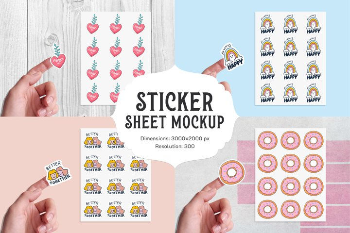 Sticker sheet mockup with hand