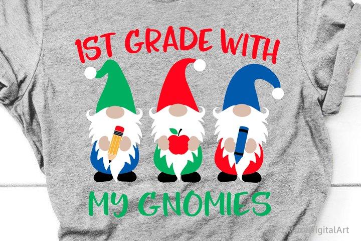 1st Grade with My Gnomies Svg, First Grade Svg, Boy Svg