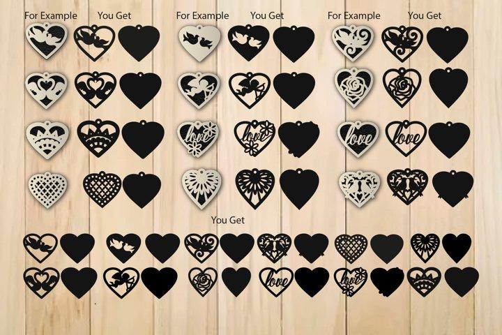 Heart SVG, Valentine Earrings Template SVG, Earrings SVG