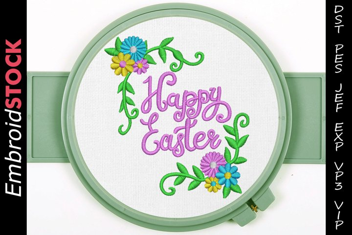 Happy Easter Holiday Embroidery Design