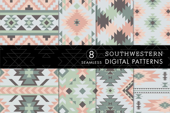 8 Seamless Southwest Patterns - Pink, Green & Gray