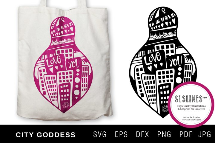 Urban City Goddess Illustration with flowers SVG EPS PNG