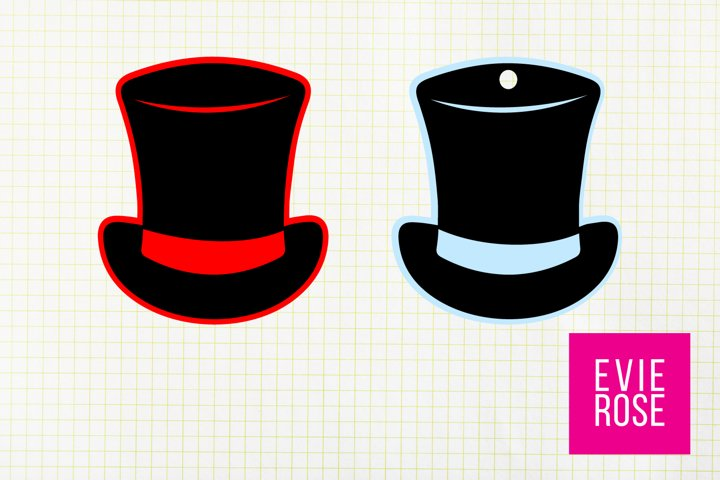 Layered Top Hat Gift Tag SVG, Snowman Hat Tag