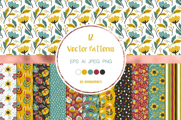 12 Colorful Vector Patterns with flowers, leaves and berries