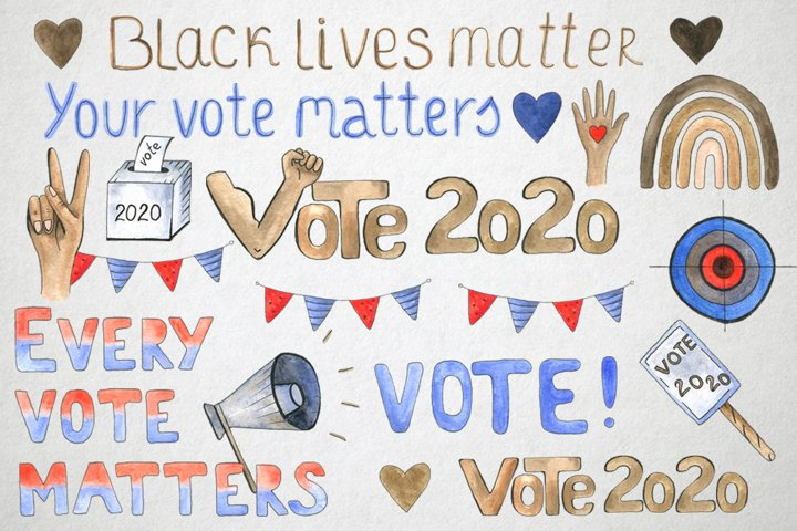 Vote 2020 sign, Black lives matter, USA elections,watercolor