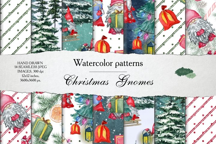 Watercolor Christmas Gnomes Patterns, Digital paper JPEG