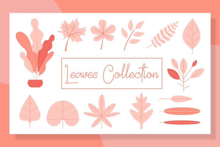 leaves collection set bundles-flat design example