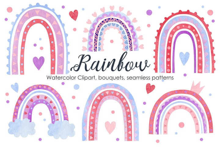 Watercolor rainbow. Clipart, Bouquets, Seamless patterns.