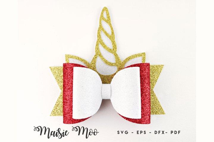 Christmas Unicorn Bow Template SVG, Festive Hair Bow PDF,