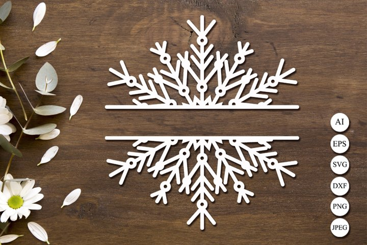Snowflake frame svg, Split monogram svg, Christmas card svg