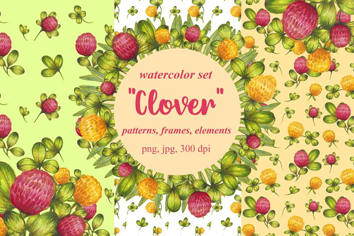 Set of watercolor design elements,patterns,wreathes Clover