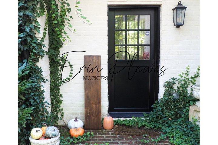 Vertical Sign Mockup Pumpkins| Autumn Porch Sign Mock-up