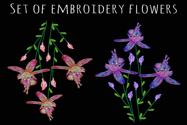 Set of embroidery flowers