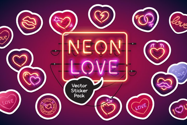 Neon Valentines Day Sticker Pack