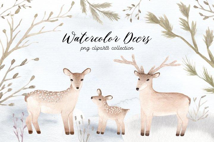 Watercolor Christmas Deers Cliparts