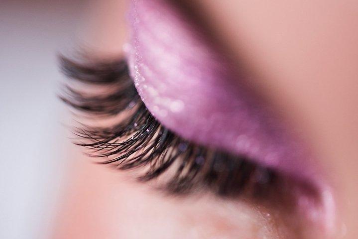 Female eye with eyeshadow closeup