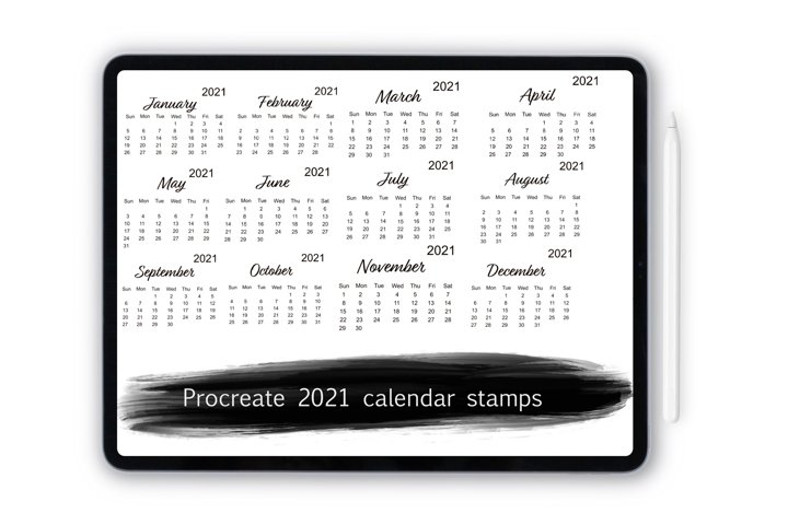 Procreate 2021 calendar stamp brushes