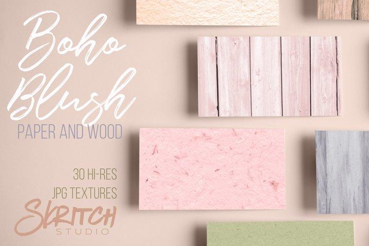 Boho Blush Paper and Wood 30 Hi-Res Textures