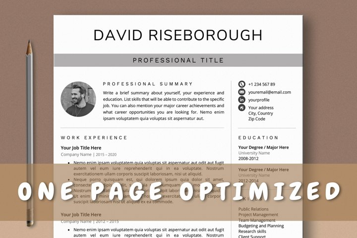 One Page Resume Template, Professional 1 Page CV Template