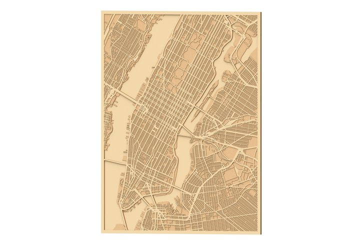 Laser cut files for New York City Map Extended
