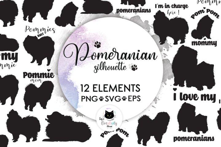 Pomeranian Spitz Dog Silhouette | Dog SVG Clipart Bundle
