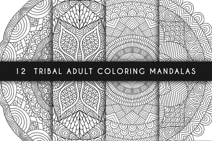 12 tribal adult coloring mandalas